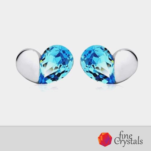 Обеци сини сърца кристали