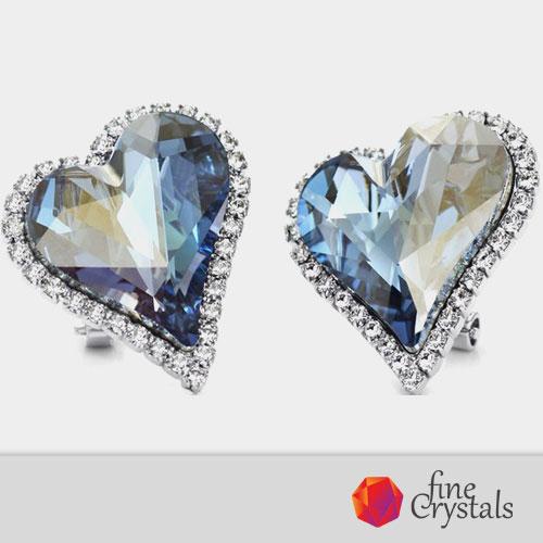 Луксозни обеци Swarovski сърце