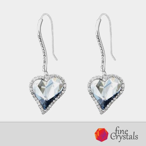 Висящи луксозни обеци със Swarovski сърце