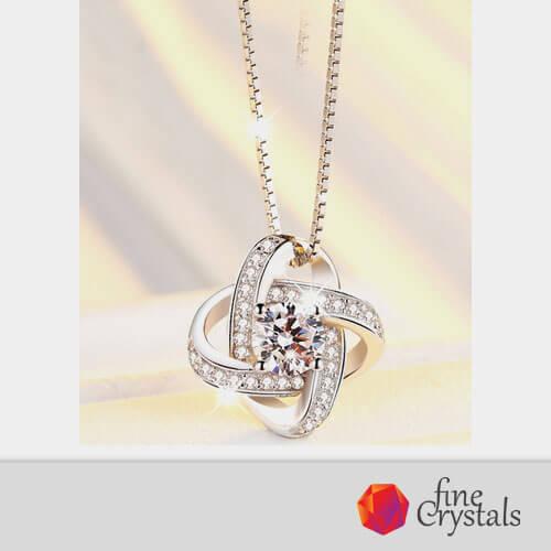 Колие сребро диамант