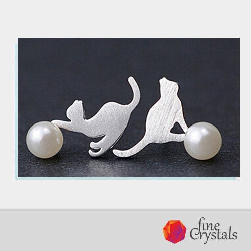 Сребърни обеци котки два