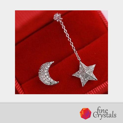 Сребърни обеци луна и звезда