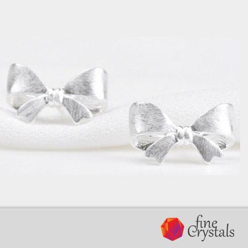 Сребърни обеци панделка