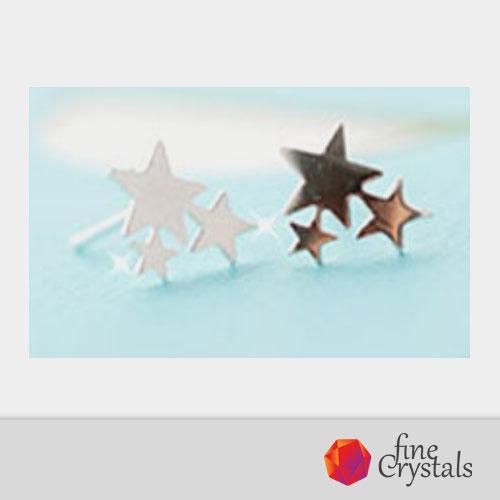 Сребърни обеци звезди